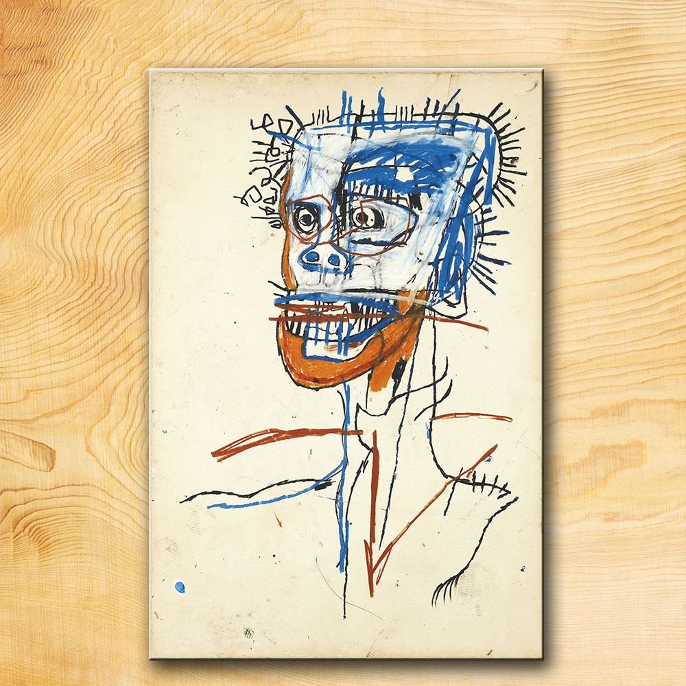 GRAFFITI ART POSTER PRINT ON CANVAS HEAD OF MADMAN BY jean michel basquiat notary-Neo-Expressionism FOR HOME DECORATION(China (Mainland))