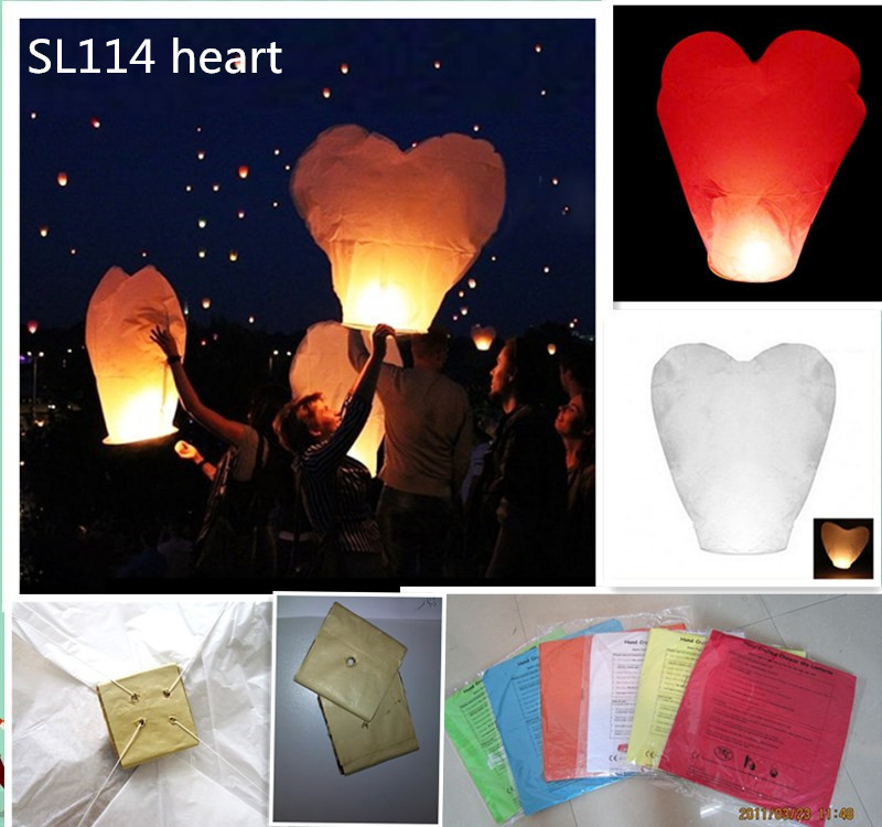 Heart shape 18pcs/lot flying paper sky lantern balloon wire free for wedding/party celebration free shipping(China (Mainland))