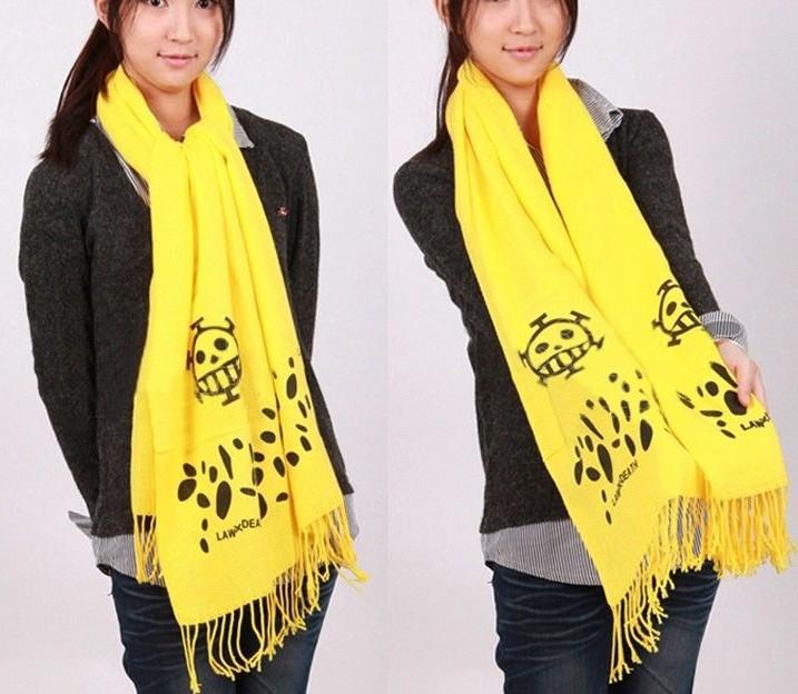 Free Shipping Anime ONE Piece Trafalgar Law Yellow Scarf Cosplay Boas Accessories(China (Mainland))