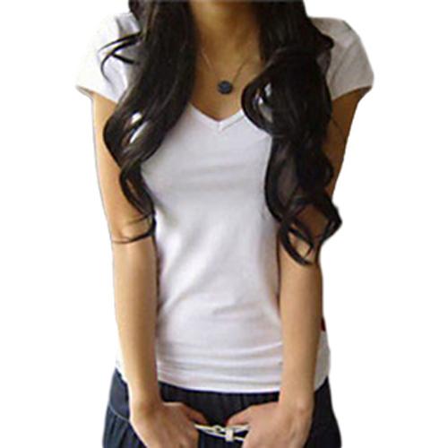 Новое Поступление 2015 женщин V-образным Вырезом С Коротким Рукавом женская Футболка Хлопок Большой Размер 8 Цветов Тонкий леди футболку размер B041