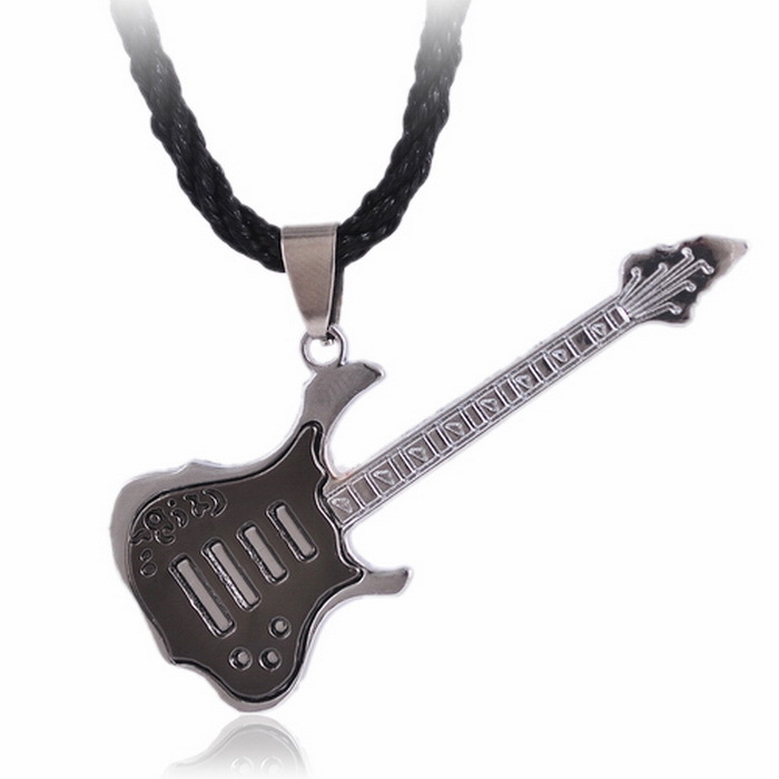45+5 Rope chain guitar Zinc alloy pendant necklaces men jewelry hot sale(China (Mainland))