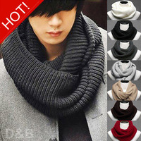 2014 New Fashion Cotton Men's Scarf/Shawl/Wrap,Casual Warm Cashmere Knitting Man Ring Scarf Suit Spring Autumn Winter
