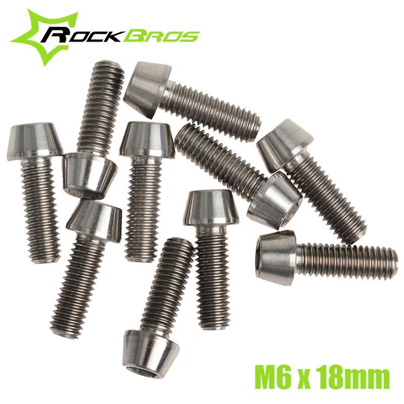 RockBros 10pcs/lot Titanium Ti Bolt Screw M6 x 18mm Taper Head Conical Head(China (Mainland))