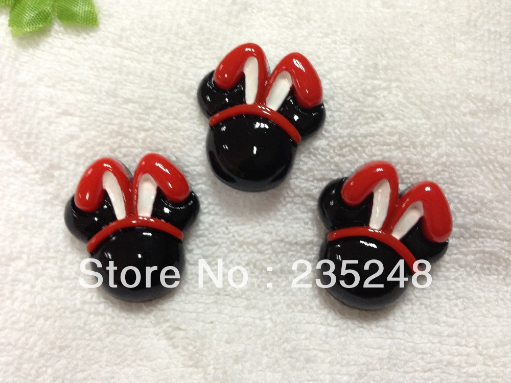 Free Shipping 27*25*6mm 100pcs/lot, Flat back resin bunny minnie-head for children phone decoration(China (Mainland))