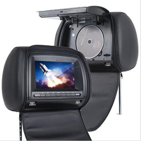 Car Headrest DVD Player Black Universal Digital Screen zipper Car Monitor USB FM TV Game IR Remote Support Russian(China (Mainland))