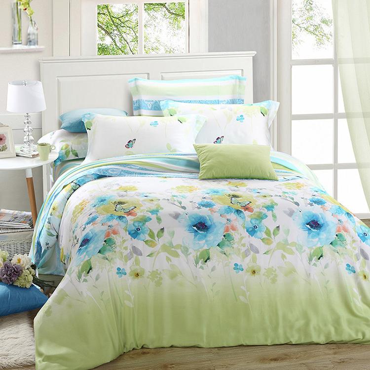 luxury green blue floral bedding set queen king size silk sheet quilt duvet cover bed brand. Black Bedroom Furniture Sets. Home Design Ideas
