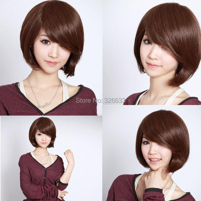3 Colors Fashion Women Girls Short BOBO Straight Synthetic Cosplay Full Hair Wig wigs side bangs - lt Michael's store