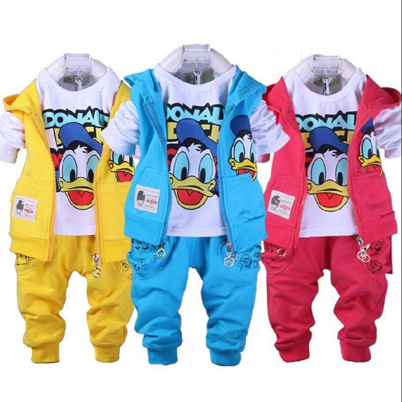 2-6 yrs Cotton Kids Clothes 2017 New Girls Clothes Set Baby Boys Clothing casual 3Pcs vest+T-Shirt+Pants Children Clothing Set(China (Mainland))