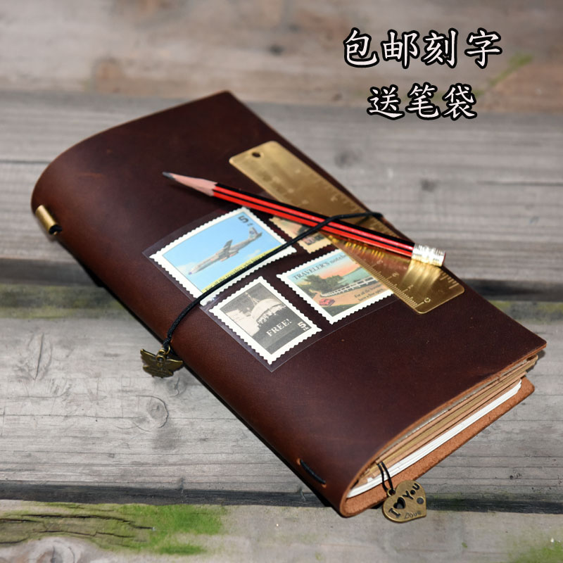 TN Traveller notebook \ handmade leather cowhide retro notepad notebook \ creative stationery loose-leaf diary PDA