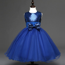 Girl Communion Party Prom Princess Pageant Bridesmaid Wedding Flower Girl Sequins Bowknot Dress
