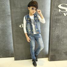 Floral Vest For Boy Brand 2015 Spring Autumn Fashion Cotton Children Vest Boy Sleeveless Jacket Korean Denim Vest For Girls