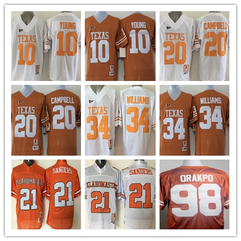 Texas Longhorns 34 Ricky Williams 20 Earl Campbell 10 Vince Young Oklahoma State 21 Barry Sanders College Jersey(China (Mainland))