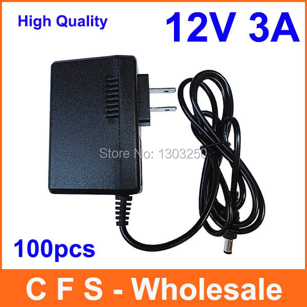AC 100V-240V Converter Adapter DC 12V 3A Power Supply Free shipping 100pcs High Quality wholesale(China (Mainland))