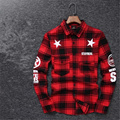 2016 Tyga cool oversized Shirts Tee men hip hop red Tartan Plaid top hba mma cotton