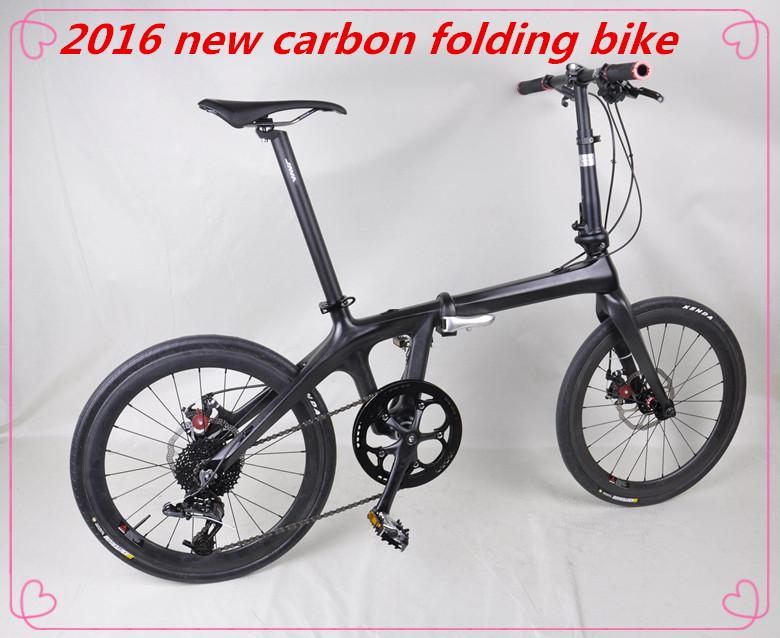 2017 New design 20 inch full carbon folding bike, super light complete folding bicycle for men or women with OEM design