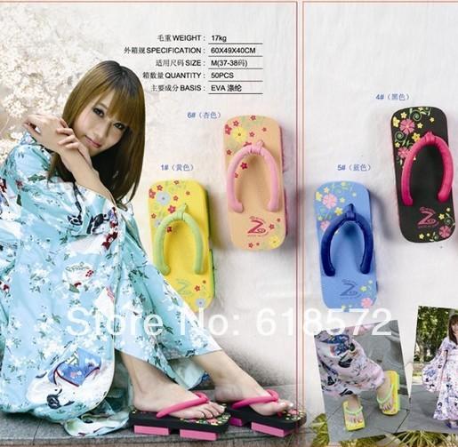 Лето женщины девочка японский тяжёлый - дном гета платформа обувь комикс принт сандалии ...