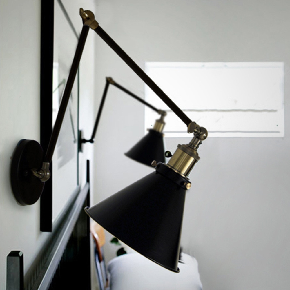 Modern Black Iron Practical Swing Arm Lights Wall Light Adjustable Lamp For Restaurant Dining Study Room Balcony Stairway(China (Mainland))