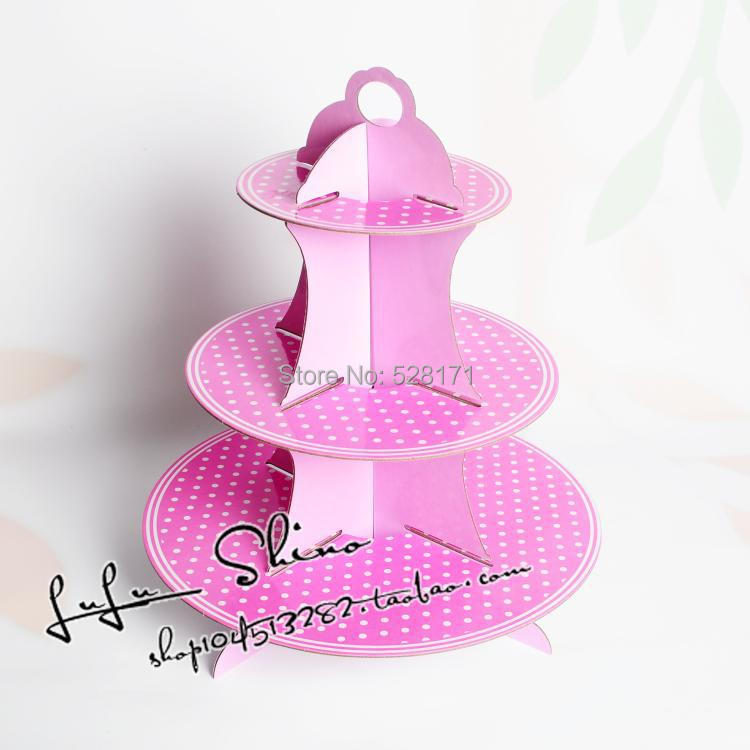 Free shipping 1 sets Light Purple Pot birthday baby shower party cardboard cake stand hold 24 cupcakes(China (Mainland))