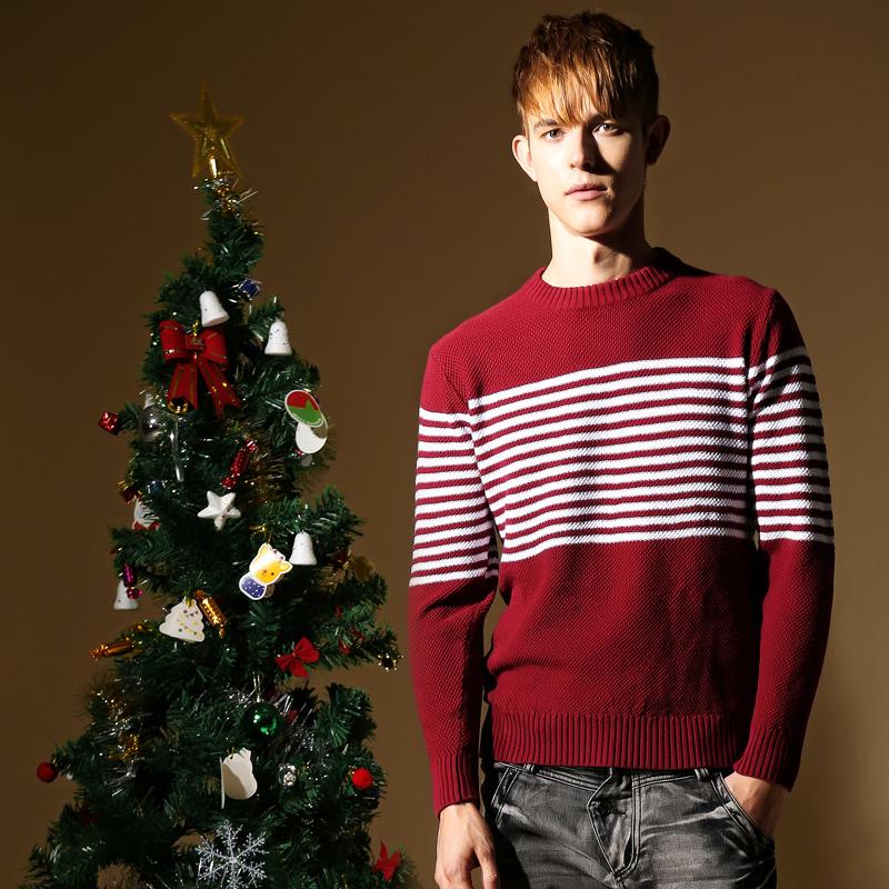 Striped Men sweater brand christmas sweater long sleeve,stylish knitting patterns men sweaters and pullovers(China (Mainland))