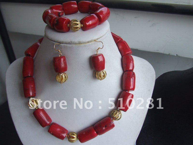Free ship!!!Beauty wedding coral jewelry set red drum coral necklace bracelet and earring set(China (Mainland))