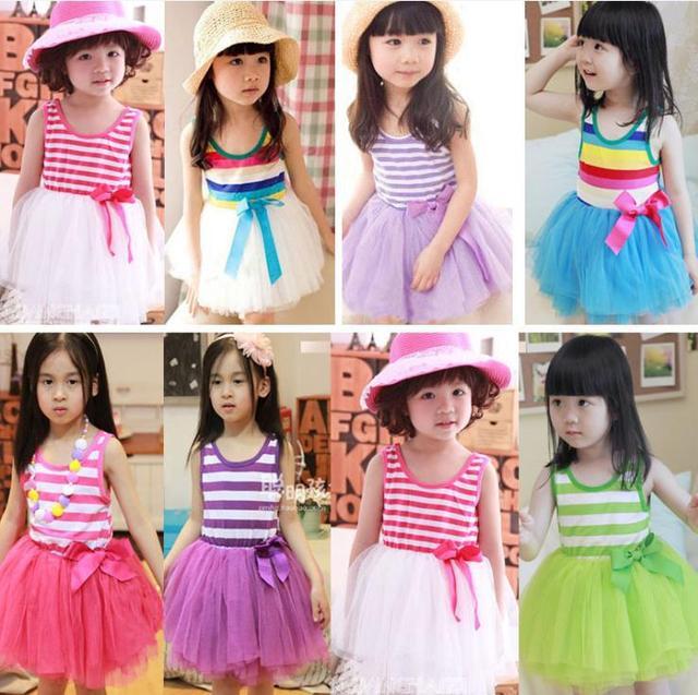 2013 Fashion Dress Children Girl's Cheap Colorful Stripe Chiffon Cake Dress, Kids Summer Vest Dress 5 Colors Free Shipping