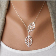 Metal leaves Double leaf joker short chain necklace clavicle b3xr