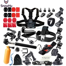 Gopro Hero Accessories Set Monopod Tripod Float Bobber Chest Belt For Go pro hero 4 3+ session 3+ xiaomi yi sjcam Black Kit GS08(China (Mainland))