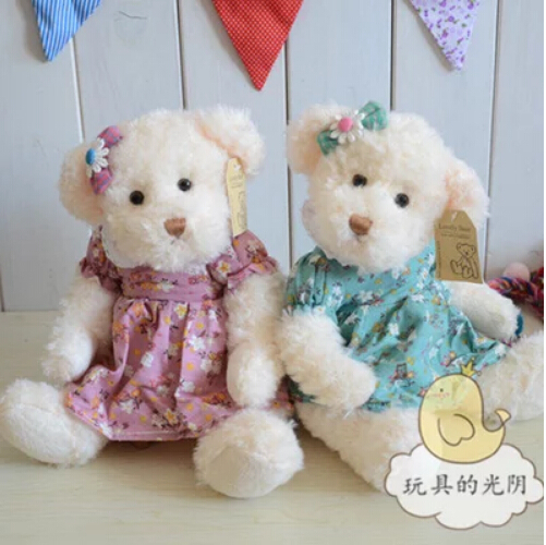30 cm 2 pcs/set Active joints soft plush stuffed bear toy couple teddy bear with cloth Birthday gift(China (Mainland))