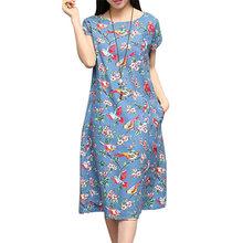 Buy New Arrival 2016 Summer Dress Women O neck Short Sleeve Flower Birds Print Casual Loose Pockets Cotton Linen Dresses Vestidos for $11.79 in AliExpress store