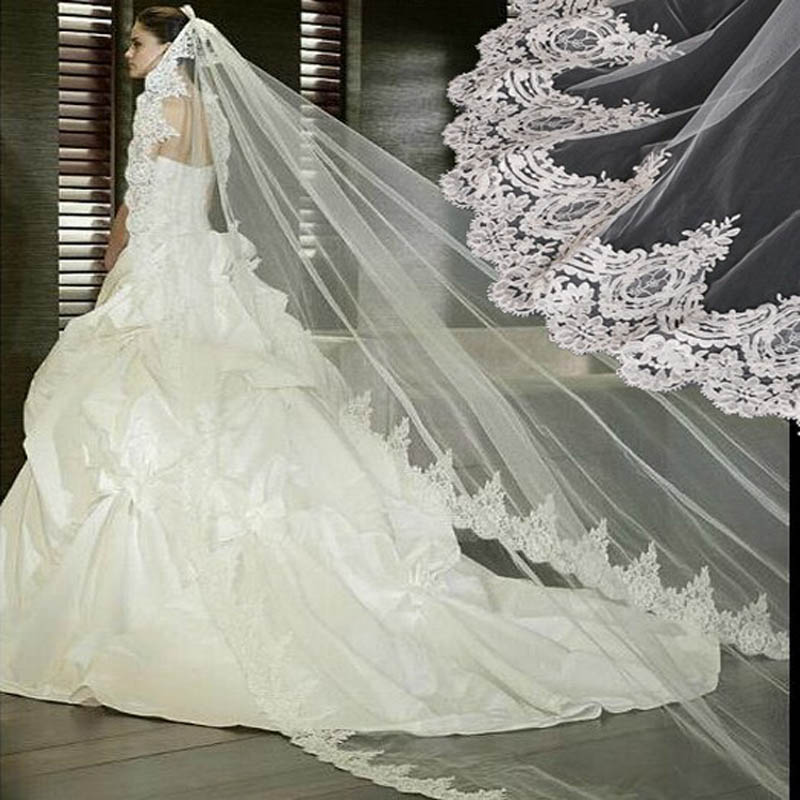 Wholesale white ivory wedding veil 3 meters lace long for Long veil wedding dresses