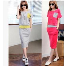 2016 Summer Style Sports Suit For Women Casual Crop Tank Tops Fitness T Shirt High Waist skirts 3 Piece Set Women Tracksuits