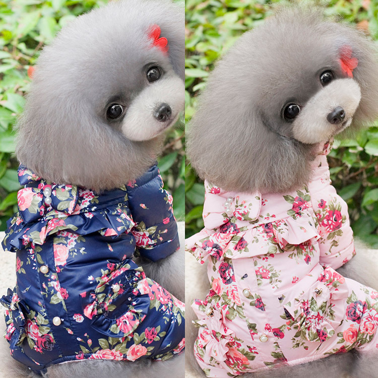 New winter pearl flower four-legged dog clothes pe...