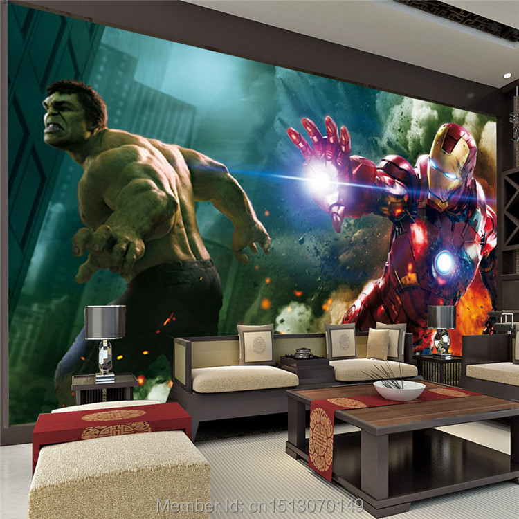 buy the avengers wall mural iron man hulk custom large photo wallpaper super. Black Bedroom Furniture Sets. Home Design Ideas