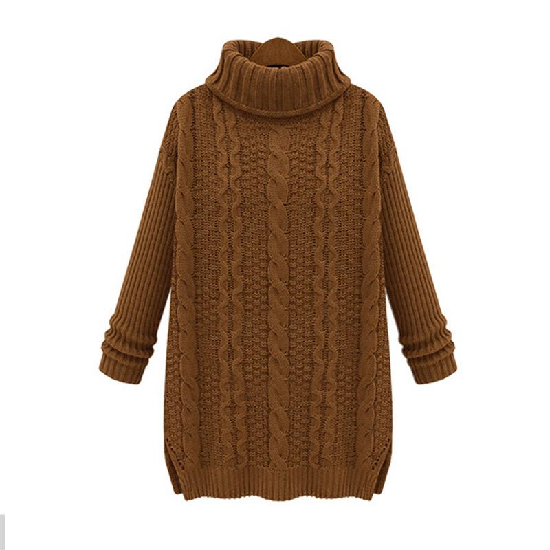 winter trendy sweater long turtleneck loose knit sweater