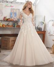 Buy Dream Angel Vestido De Noiva Long Sleeve Vintage Wedding Dress 2017 Luxury V Neck Appliques Beaded Line Bridal Gown Plus Size for $199.74 in AliExpress store