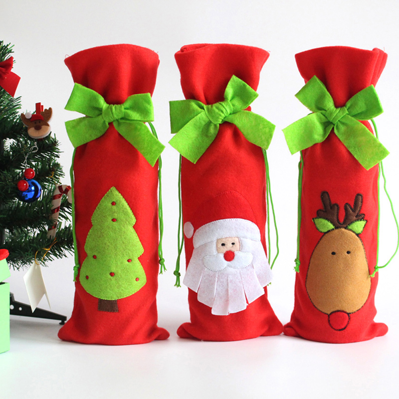 1 Set Wine Bottle Sets & Christmas Cap On Bottle Santa Gift Red New Year Decoration for Home Christmas Party Supplier MTY3(China (Mainland))