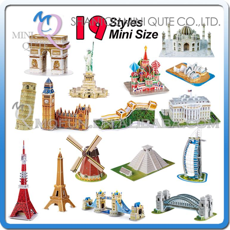 Sales Promotion Mini Qute Mini size world architecture 3d paper diy Construction model cardboard jigsaw puzzle educational toy(China (Mainland))
