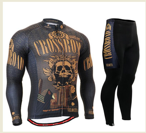 LIFE ON TRACK Men Cycling Jerseys Kits Mountain Bike Long Sleeve Fashion Cycling Clothing Breathable Golden Skull Team Wear(China (Mainland))