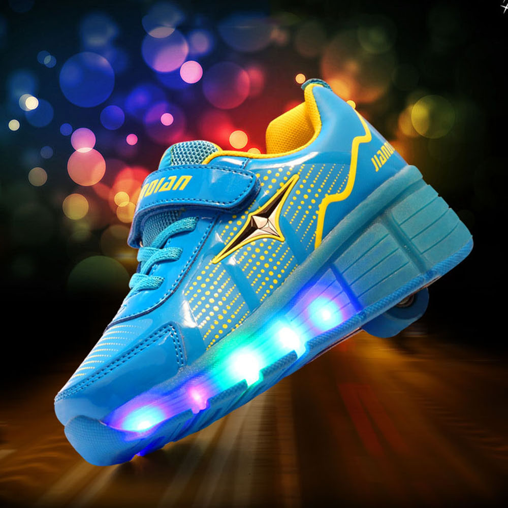Roller shoes payless - Glowing Sneakers Kids Roller Skate Shoes With Wheels Led Light Up Shoes For Boys Girls Glowing