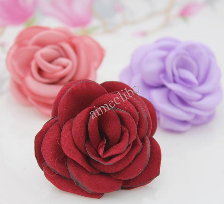 Free Shipping Cloth Fabric Flower Flat Back DIY Flowers For Headbands(China (Mainland))