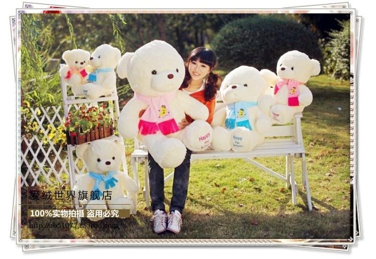 Фотография The lovely scarf bear doll lovers teddy bear big hug bear plush toy doll wedding gift  the pink bear about 100cm