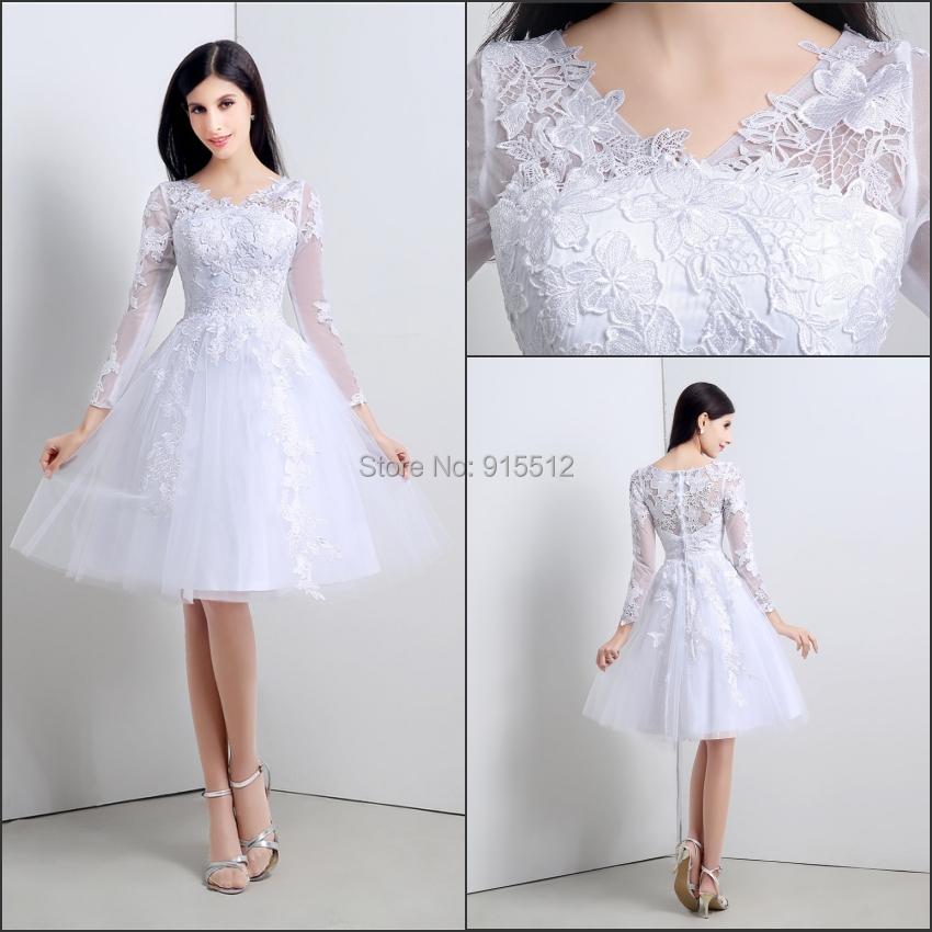 2014 winter v neck long sleeve knee length white ivory for Ivory knee length wedding dresses
