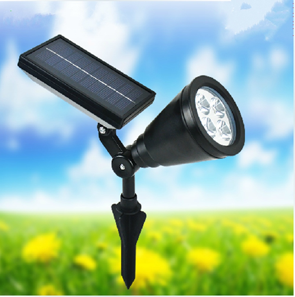 2015 Newest Portable 4 Led Outdoor Solar Powered Spotlight White Waterproof Ip44 Led Landscape
