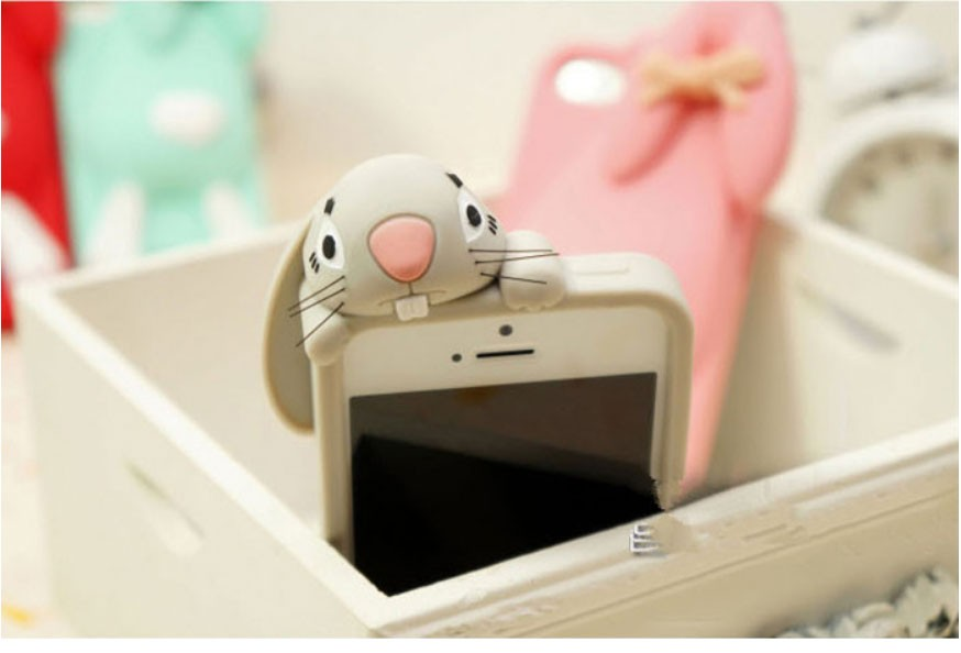 Newest 3D lovely cartoon Bunny Rabbit Rubber Soft Silicon Gel Case back Cover For iPhone 5 5s Hu10