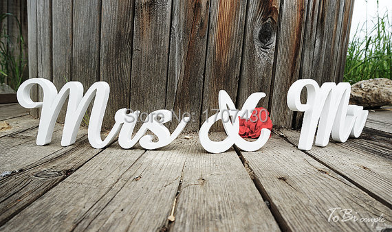 Wedding sign mr mrs wooden letters table decor wedding for Decoration 5 letters
