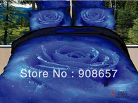 500TC Quality Cotton Bed sheet 4pc Queen/Full bedding sets sexy blue rose flowers printed girl's duvet quilt covers bed linens