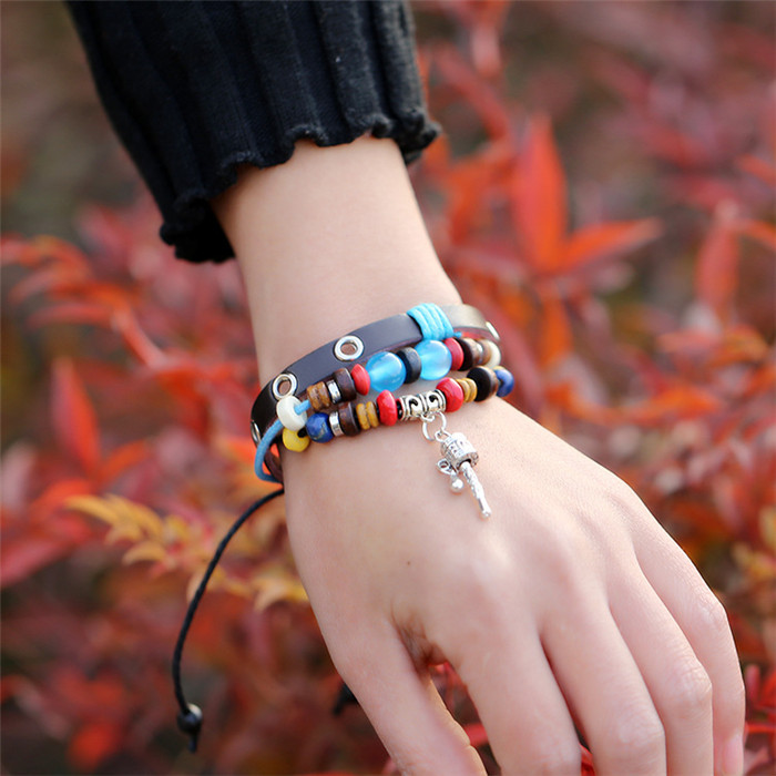 Real Leather Charms Pendants Key Crown Vintage Beaded bracelets & bangles Adjustable size Rope Unisex 2015 - Alice jewelry world store