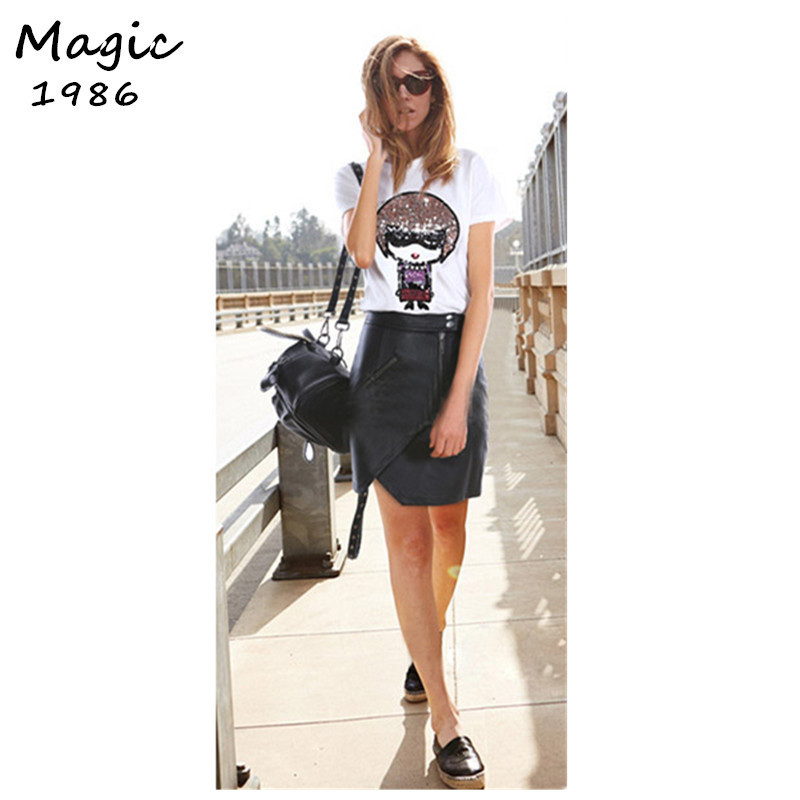 2015 White Black women t shirt Cartoon Sequin 100% Cotton t-shirt high quality Short Sleeve tops New designers Woman clothing(China (Mainland))