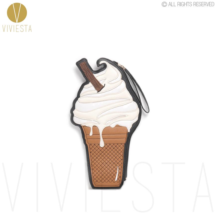 ICE CREAM NOVELTY CLUTCH - Womens Fashion Style Trend Cute Sweet Cool Playful Icecream Zip Top Wristlet Day Clutch Bag Purse<br><br>Aliexpress