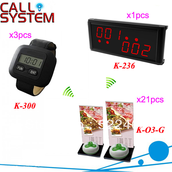 HOT!!! Waitress Calling System with 1pcs LED display, 3pcs watch receiver and 21pcs waterproof button DHL shipping free(China (Mainland))